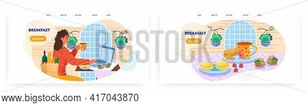 European Breakfast Landing Page Design, Website Banner Vector Template Set. Coffee With French Crois