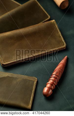 Handmade Products Made Of Genuine Yellow And Red Leather. Leather Passport Cover, Leather Wallet. Le