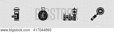 Set London Mail Box, Money Bag With Pound, Big Ben Tower And Magnifying Glass Icon. Vector