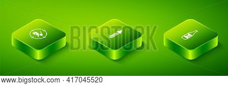 Set Isometric Firework Rocket, Bottle Of Water And Hunt On Rabbit With Crosshairs Icon. Vector