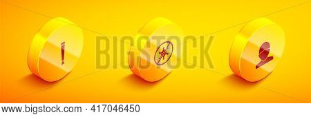 Set Isometric Police Rubber Baton, Protest And Vandal Icon. Vector