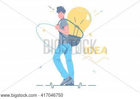 Guy Carry Smart Idea Behind Vector Illustration. Big Light Bulb As Symbol Of Creative Idea Generatio