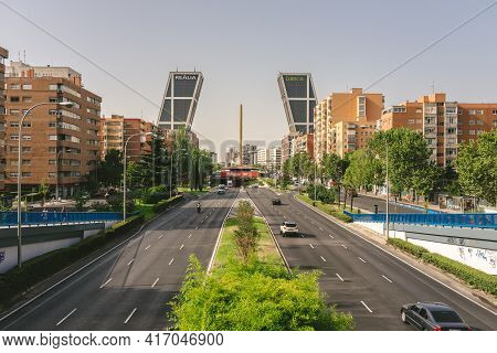 Madrid, Spain - August 7, 2018 - Puerta De Europa View Of Two Towers In Madrid