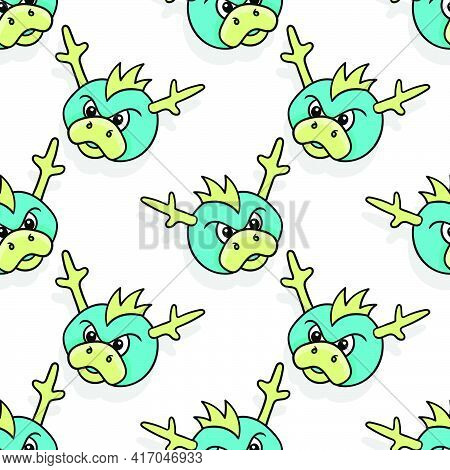 Mad Angry Monster Seamless Pattern Textile Print. Great For Summer Vintage Fabric, Scrapbooking, Wal
