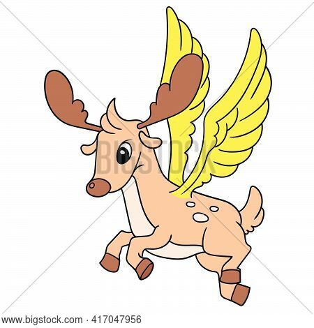 The Winged Deer Of A Fantasy Animal Flew Around The Sky, Doodle Draw Kawaii. Vector Illustration Art