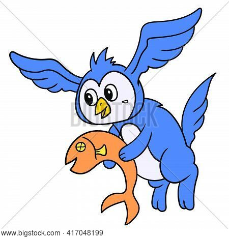 A Strange Creature In The Body Of A Cat With The Head Of An Owl With Wings That Flies Carrying Fish,