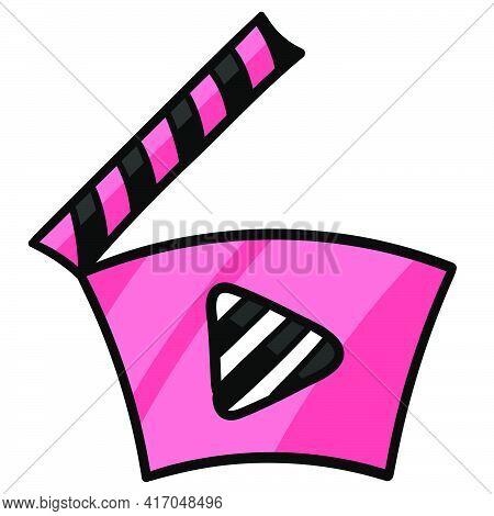 Clapperboard Cinema Movie Icon. Doodle Icon Drawing, Vector Illustration