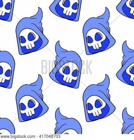 Shinigami Death Angel Seamless Pattern Textile Print. Great For Summer Vintage Fabric, Scrapbooking,