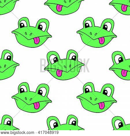 Mocking Frog Head Seamless Pattern Textile Print. Great For Summer Vintage Fabric, Scrapbooking, Wal