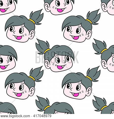 Smile Cute Girl Seamless Pattern Textile Print. Great For Summer Vintage Fabric, Scrapbooking, Wallp