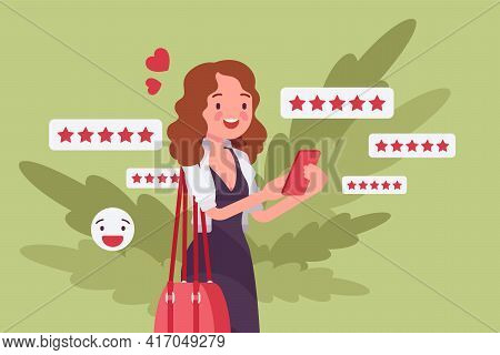 Customer Experience Positive Review, Rating To Product, Service Or Business. Woman, Happy Client, Us