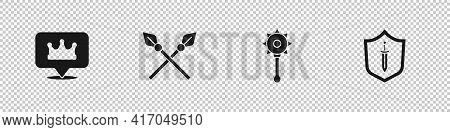 Set Location King Crown, Crossed Medieval Spears, Medieval Chained Mace Ball And Shield With Sword I