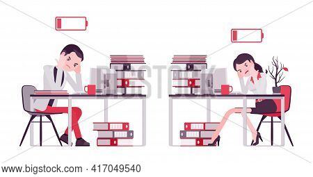 Businessman, Businesswoman, Manager Empty Energy At Working Place. Tired, Overworked, Exhausted With