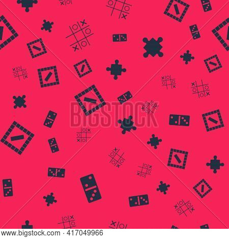 Set Domino, Tic Tac Toe Game, Board And Puzzle Pieces Toy On Seamless Pattern. Vector