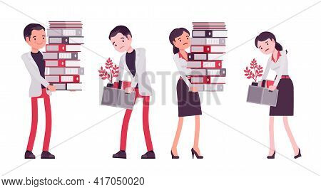 Smart Businessman, Businesswoman, Business Manager Overload With Paperwork, Fired Worker. Office Wor