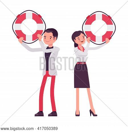 Smart Businessman, Businesswoman, Business Manager With Giant Lifebuoy. Office Worker Professional H