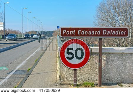 Avignon, France - January 30, 2016: Pont Edouard Daladier Bridge Over River Rhone In Avignon, France