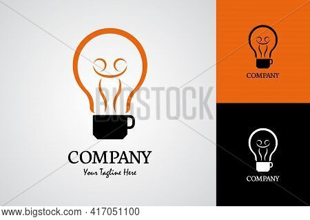 Light Bulb Logo Abstract Design Vector Template. Bulb And A Cup Of Coffee Logo Style.