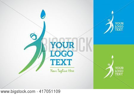 A Man Reach A Water Drop Logo. Symbol And Icon Vector Template.