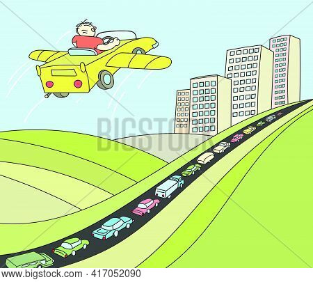 Person In His Imagination Overcomes A Large Traffic Jam At Entrance To The City