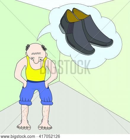 Vector Cartoon Flat Man Conceives, Dreams Of Buying Shoe. Barefoot Male Thinks About Shoes