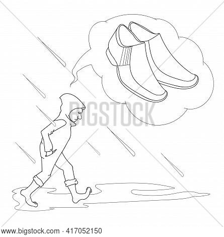 Person Barefoot Dreams That He Needs Good Shoes, In Inclement Weather