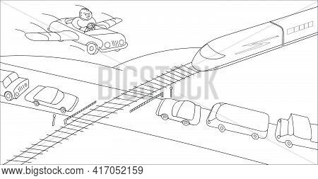 Person In His Imagination Overcomes A Large Traffic Jam At The Railway Crossing. Monochrome Vector I