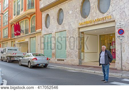 Nice, France - February 3, 2016: Galeries Lafayette Luxury Shopping Centre In Nice, France.