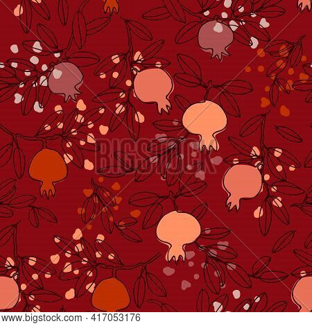 Seamless Pattern In Boho Style. Pomegranate Tree Branches With Fruit. Vector Illustration On Wine-re