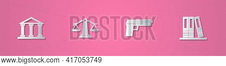 Set Paper Cut Courthouse Building, Scales Of Justice, Pistol Or Gun And Office Folders Icon. Paper A