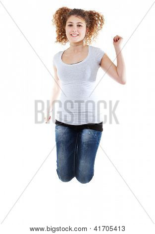 Beautiful Casual Woman Jumping In Joy On White Background