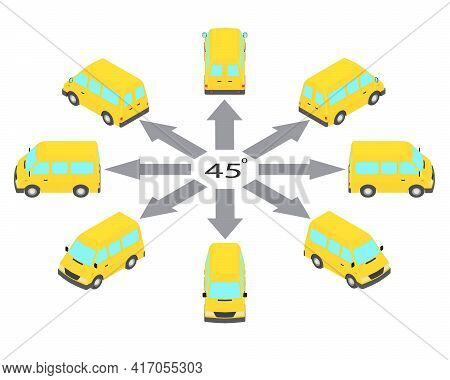 Rotation Of The Minibus By 45 Degrees. Yellow Bus In Different Angles In Isometric.