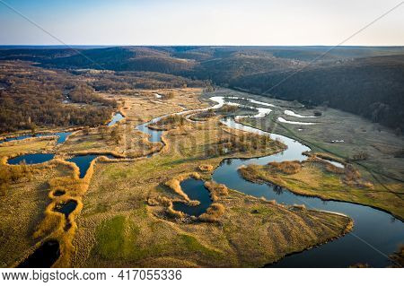 Aerial View To Spring Valley And Floodplain Of Siverskyi Donets River