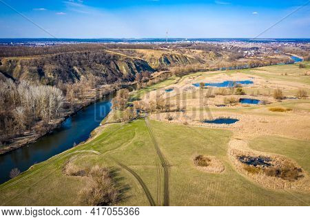 Aerial View To Spring Valley With Siverskyi Donets River Near Zmiiv City