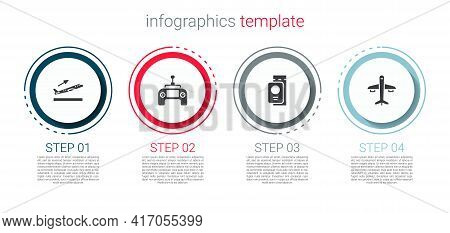Set Plane Takeoff, Drone Remote Control, Passport With Ticket And . Business Infographic Template. V