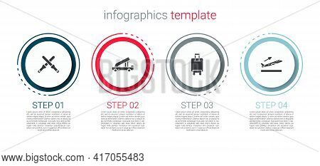 Set Marshalling Wands, Passenger Ladder, Suitcase And Plane Takeoff. Business Infographic Template.