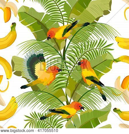 Pattern With Bananas And Birds.bananas, Palm Leaves And Birds In Vector Pattern.