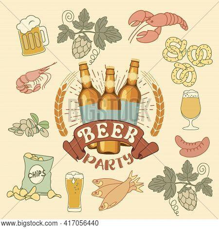 Beer Logo With Snacks. Realistic Beer Bottles On Dark Background. Crayfish, Shrimp, Chips, Pistachio
