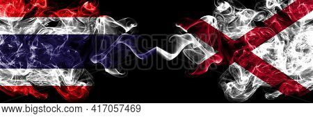Thailand, Thai Vs Alabama, Alabamian Smoky Mystic Flags Placed Side By Side. Thick Colored Silky Abs