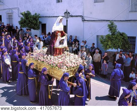 Arcos De La Frontera, Spain-april 21,2008:a Wooden Sculpture Of The Virgin Mary Is Carried Only By W