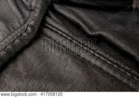 Old Vintage Genuine Soft Black Leather Texture Background, Top Layer With Pores And Scratches, Macro
