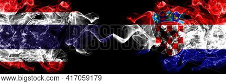 Thailand, Thai Vs Croatia, Croatian Smoky Mystic Flags Placed Side By Side. Thick Colored Silky Abst