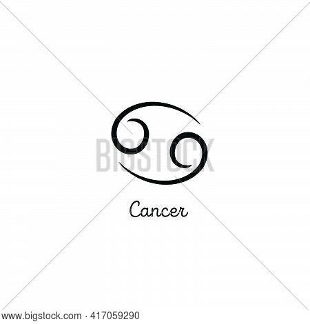 Hand Drawn Cancer Zodiac Illustration. Simple Line Cancer Zodiac Icon. Tattoo Cancer Zodiac Vector S