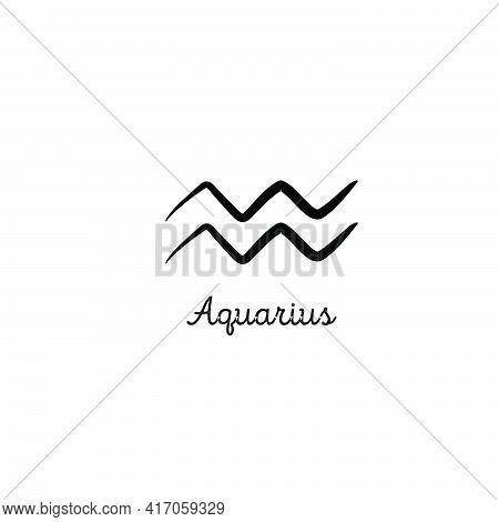 Hand Drawn Aquarius Zodiac Illustration. Simple Line Aquarius Zodiac Icon. Tattoo Aquarius Zodiac Ve