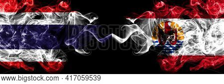 Thailand, Thai Vs France, French Polynesia Smoky Mystic Flags Placed Side By Side. Thick Colored Sil