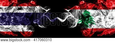 Thailand, Thai Vs Lebanon, Lebanese Smoky Mystic Flags Placed Side By Side. Thick Colored Silky Abst