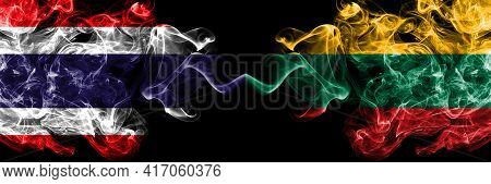 Thailand, Thai Vs Lithuania, Lithuanian Smoky Mystic Flags Placed Side By Side. Thick Colored Silky