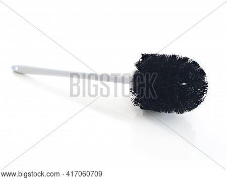 Stylish Wc Cleaning Brush On White Background. Close Up Of Black Toilet Brush In Horizontal Position
