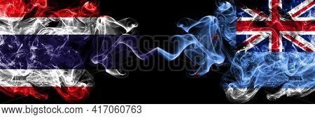 Thailand, Thai Vs New Zealand, Ross Dependency Smoky Mystic Flags Placed Side By Side. Thick Colored