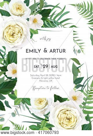 Vector Art Watercolor Style Floral Wedding Invite, Invitation, Save The Date Card, Poster Template D